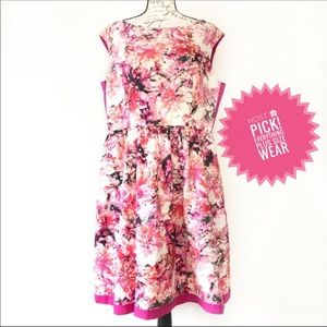 Sleeveless Floral Fit & Flare Dress A Line Plus 14